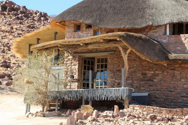The eclectic Desert Homestead Outpost reception welcomes new guests