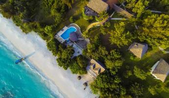 Aerial View of the Manta Resort on Zanzibar's Pemba Island