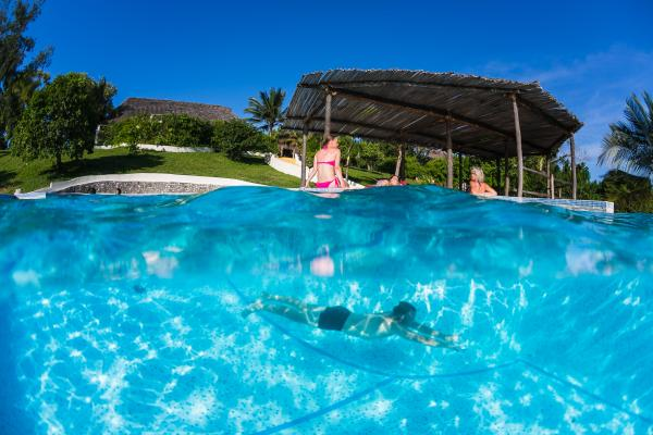 Take a dip in the pool at Manta Resort