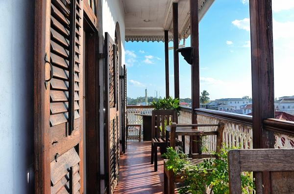 Enjoy views of Stone Town from the hotel's balcony