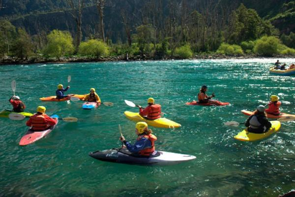 Kayak across the Futaleufu River, Patagonia