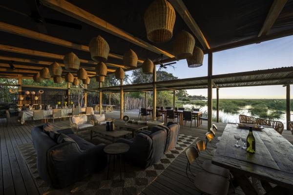 Open-air guest lounge at Linyanti Tented Camp