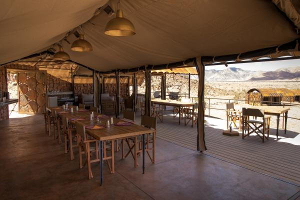 Dining area at Sossus Under Canvas