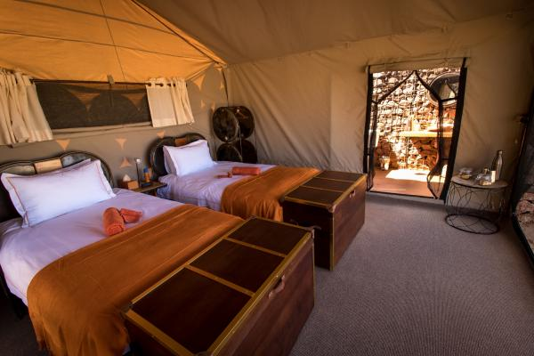 Minimalist yet spacious tents at Sossus Under Canvas