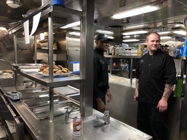 The two chefs on our galley tour on the Chichagof Dream. Impressive meals came out of this small space each day!