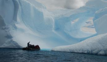 The zodiac was our transportation around icebergs