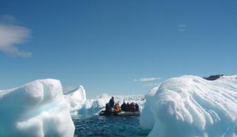 cruising the ice bergs in the zodiak