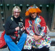 Pat with baby llama by the Cathedral de San Francisco.  Peru