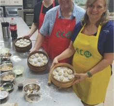 Making dumplings in a cooking class in Shanghai