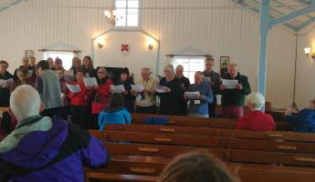 Ocean Endeavour choir in Nain church