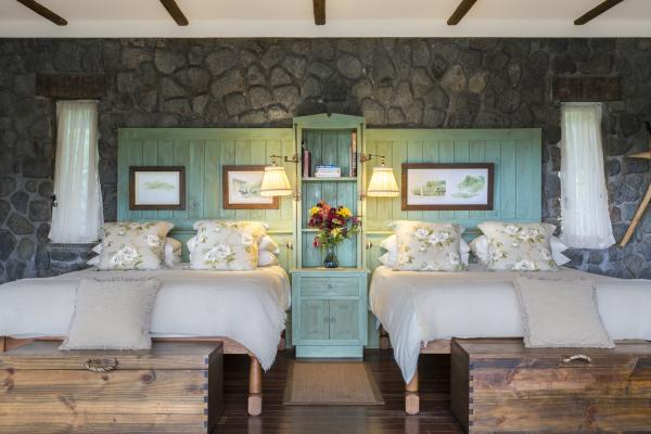 Warm interiors of the guest cottages at Gibb's Farm