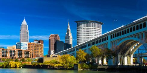 Downtown Cleveland with River Bridge