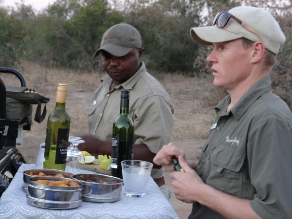 Sundowner with our Tracker Moses and Ranger Craig at Thornybush Reserve
