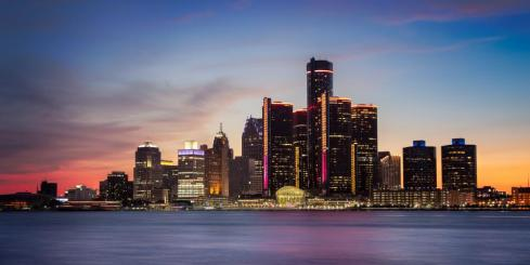 Detroit, Michigan at Dusk