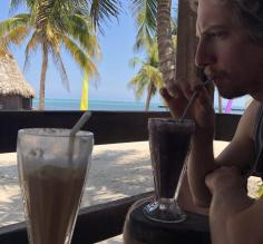 Enjoying a smoothie on the beach!