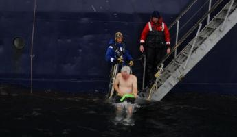 the polar plunge, 31 degree water
