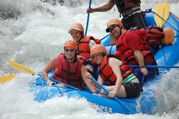 Here comes a big hit! Pacuare River whitewater rafting.