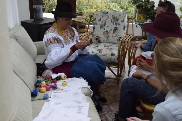 Embroidery lessons on are just one of the many cultural experieces at Zuleta