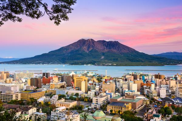 Colorful sunset over Kagoshima, Japan