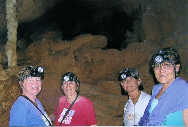 A group enjoys the ATM cave tour