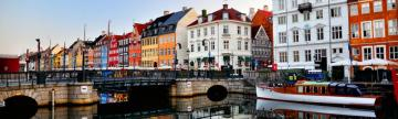 Soft light glows over the canals of Copenhagen