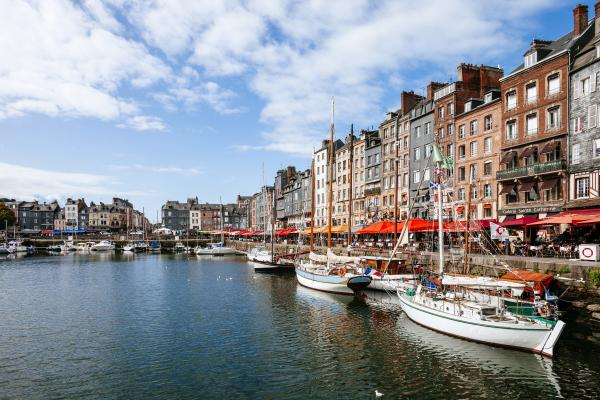 Boats at the docks of Honfleur, France