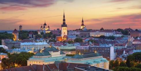 Colorful sunset over Tallinn, Estonia