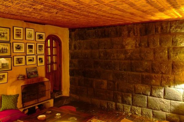 Traditional Inca fireplace and wall