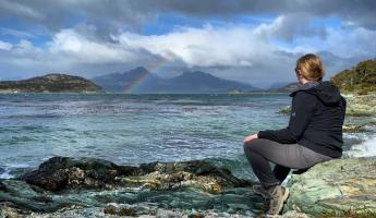 A great shot of a rainbow over the Beagle Channel as we explore Tierra del Fuego National Park