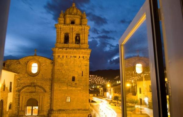 The bright lights of a Cusco night