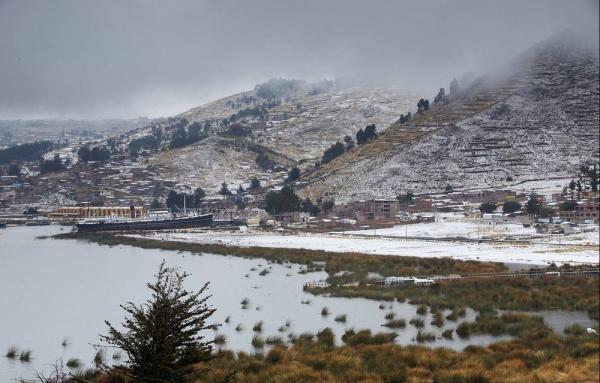 Snow at Lake Titicaca