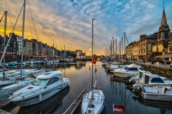 Sunset over the tranquil Honfleur harbor