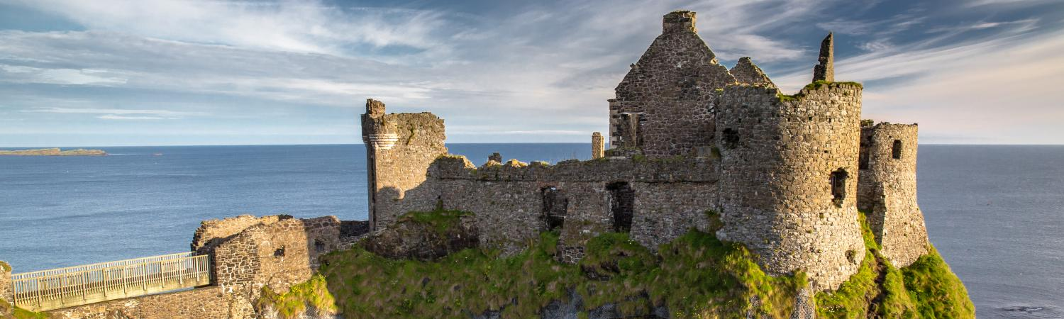 Castle ruins overlooking the sea