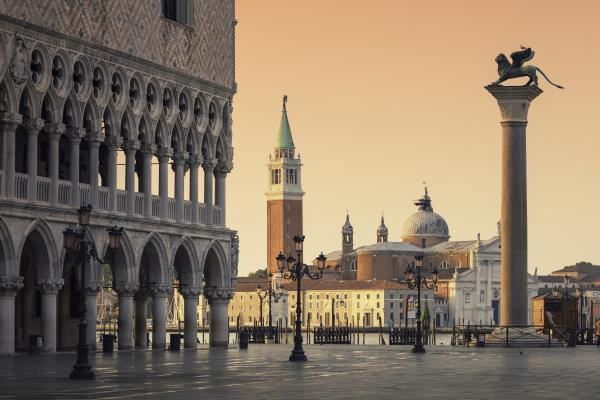 Golden hour in Venice's famed Piazza San Marco