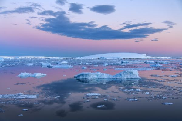 Midnight sun over the flat-topped icebergs of the Weddell Sea