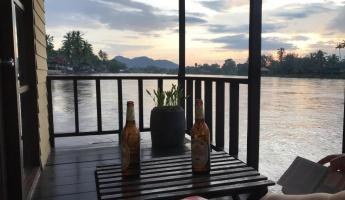 Relaxing on the Mekong River