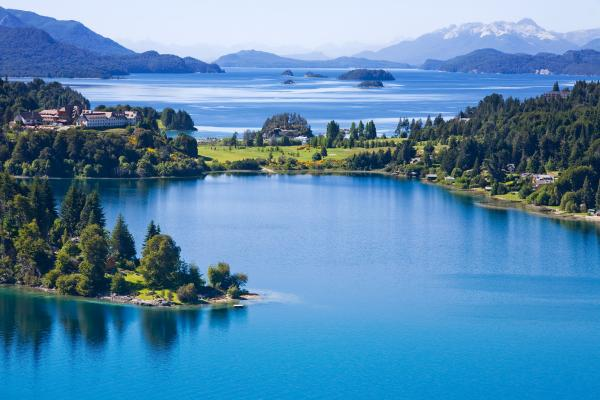 Brilliant blue water of Argentine lakes