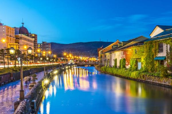 Evening lights over the Otaru canals