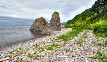 Explore rocky beaches of the Russian Far East