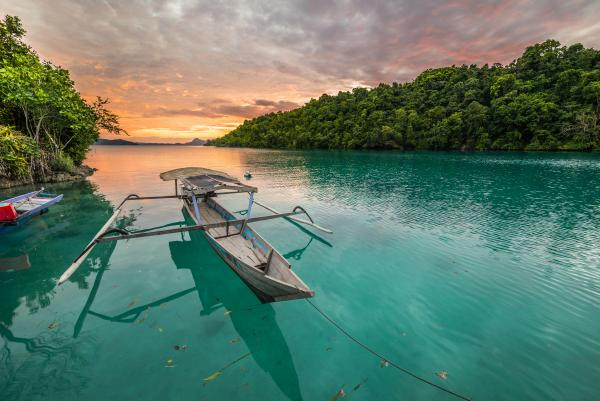 Colorful sunset over Sulawesi