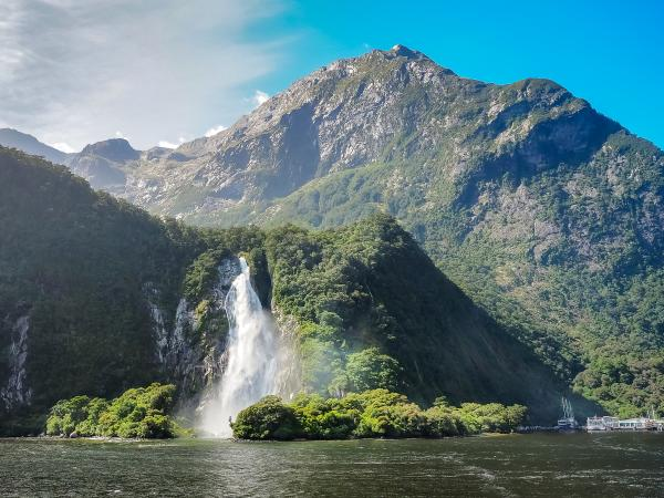 Cascading waterfall in the Milford Sound