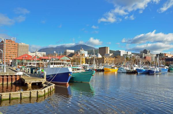 Colorful boats in Hobart Harbor, Tasmania