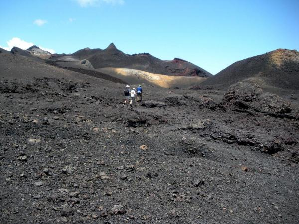 Hiking volcanic fields on Isabela