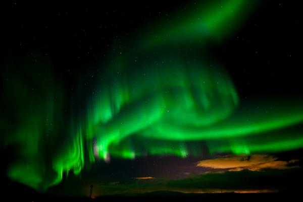 Northern Lights light up the sky in South Iceland