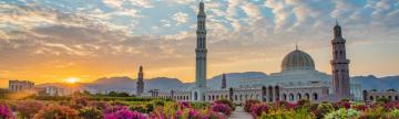 Golden hour over the Grand Mosque of Muscat, Oman