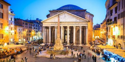 Blue hour over the Roman Pantheon