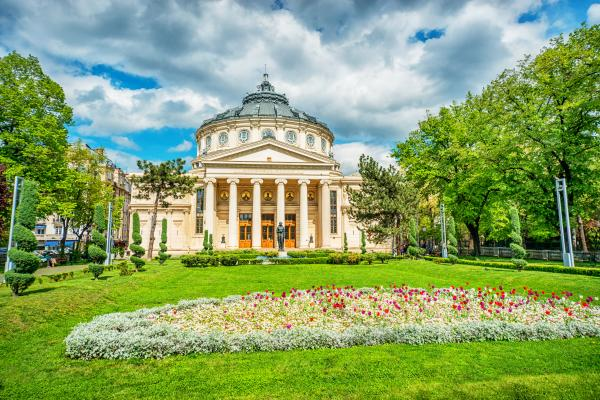 Admire Roman-inspired architecture in Bucharest