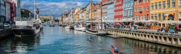 Paddlers in the Nyhavn district of Copenhagen