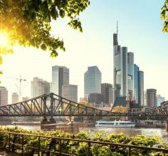 Stop in Frankfurt, a major financial hub in Germany