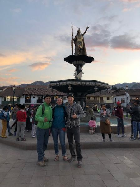 The central plaza in downtown Cusco with our guide Edwin.